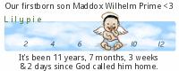 Our firstborn son, Maddox Wilhelm Prime, was stillborn on December 13, 2011, at 4:01 am.